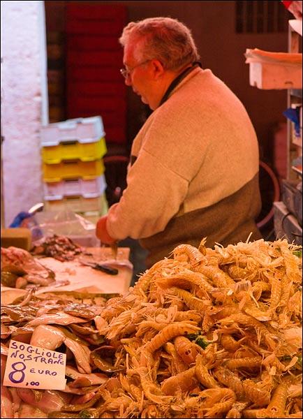 Photo of the chioggia fish market taken by james martin