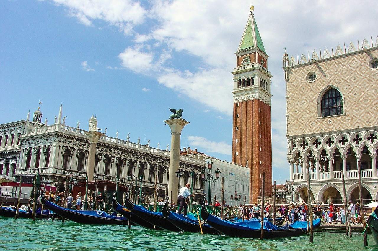 Arriving in St Mark's Square by boat