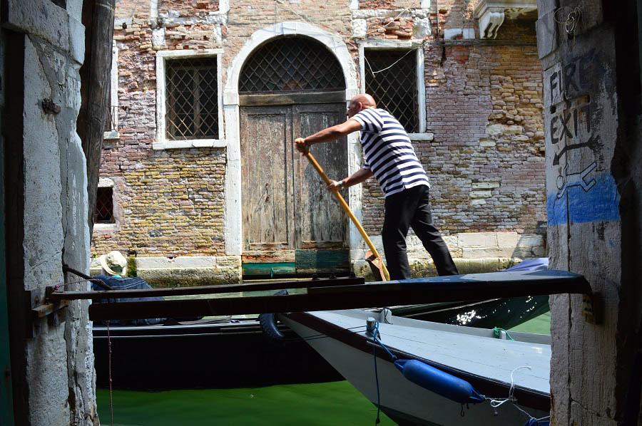 Gondola passes by the window