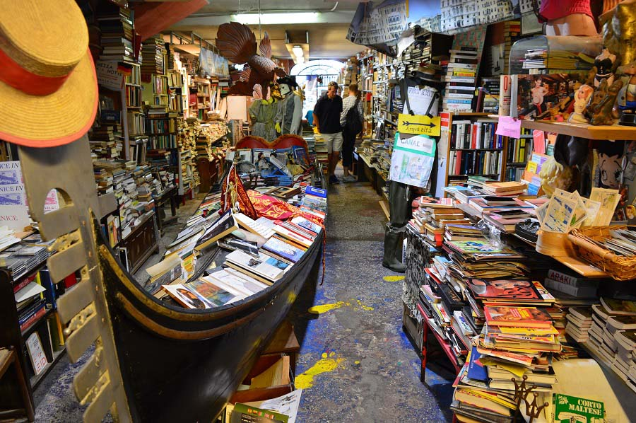 Gondola inside the Acqua Alta Bookshop
