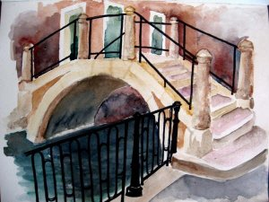A picture of Venice in watercolor