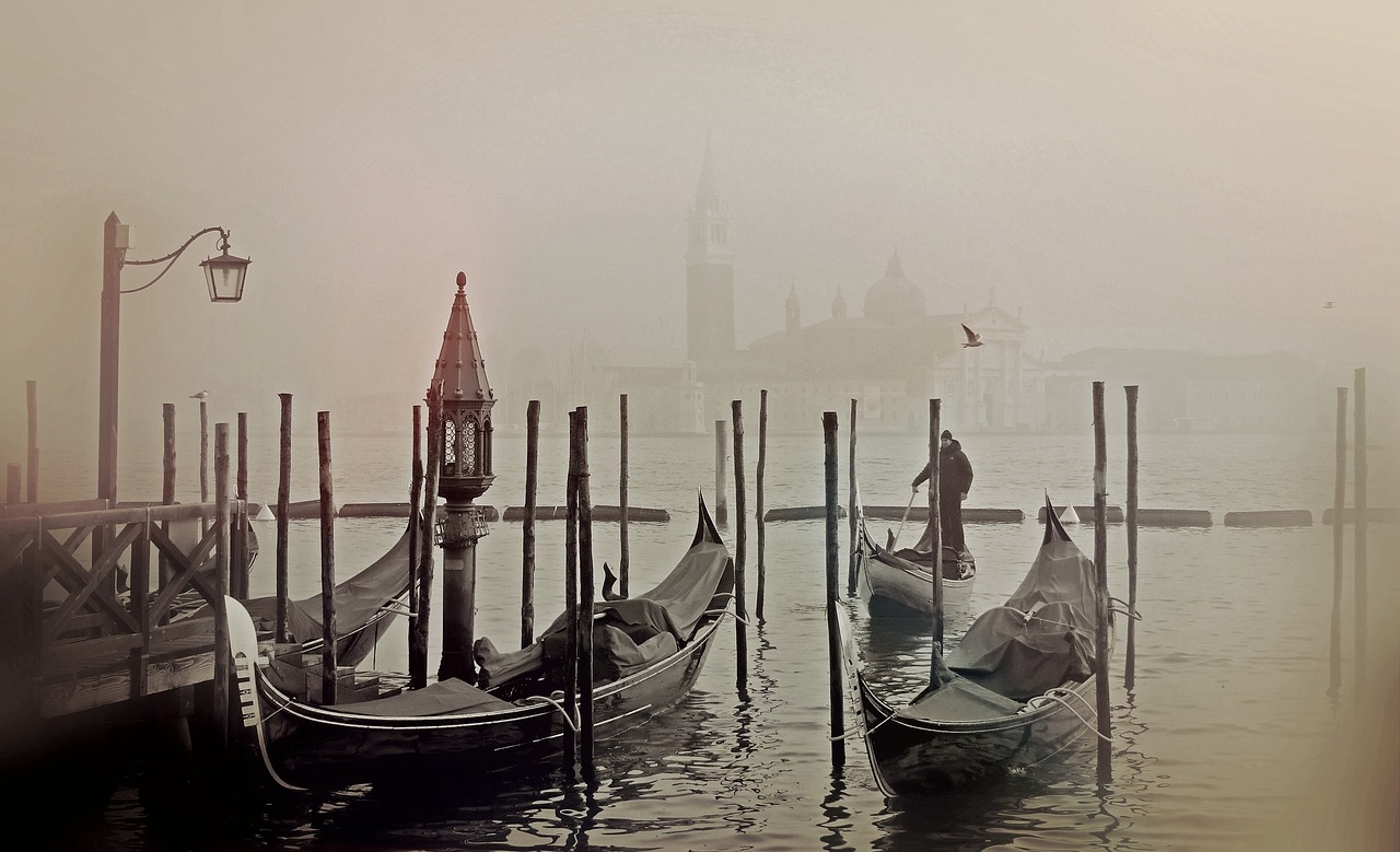 Gondolas in the winter mist
